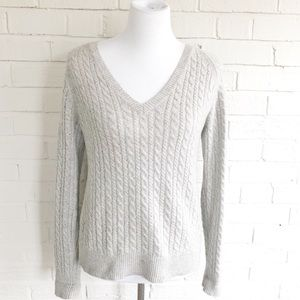 LOFT cashmere grey v-neck warm soft sweater